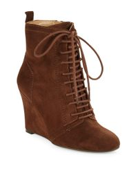Nine West | Brown Okeya Suede Lace-up Wedges | Lyst