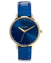 Nixon | Kensington Blue Patent Leather Watch | Lyst