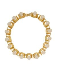 Lele Sadoughi | Metallic Groove Gold-Plated Faux Pearl Necklace | Lyst
