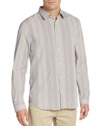 7 For All Mankind | Gray Vertical Stripe Cotton Sportshirt for Men | Lyst