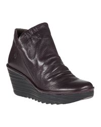 Fly London | Purple Yip Wedge Boot Oxblood Leather | Lyst