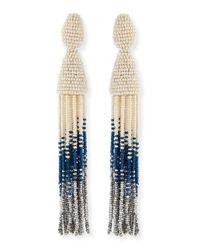 Oscar de la Renta | White Long Ombre-Beaded Tassel Clip Earrings | Lyst