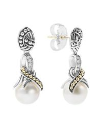Lagos | Metallic 'luna' Pearl Drop Earrings | Lyst