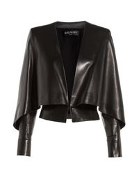 Balmain - Blue Leather Jacket With Bat Sleeves - Lyst
