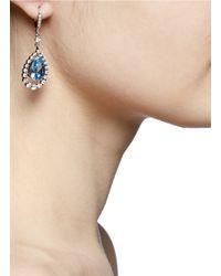 CZ by Kenneth Jay Lane - Blue Suspended Pear-cut Drop Earrings - Lyst