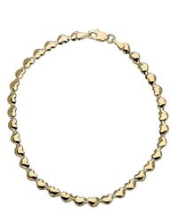 Lord & Taylor | Metallic 14kt Yellow Gold Heart Link Bracelet | Lyst