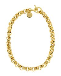 1AR By Unoaerre - Metallic Gold-Plated Textured Link Necklace - Lyst
