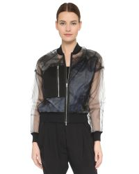 3.1 Phillip Lim | Black Gathered Bomber Jacket | Lyst