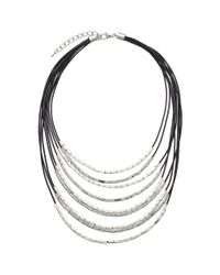 John Lewis | Black Cord Metallic Tube Necklace | Lyst