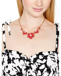 Kate Spade | Red 12k Gold-plated Geranium Crystal Bouquet Frontal Necklace | Lyst