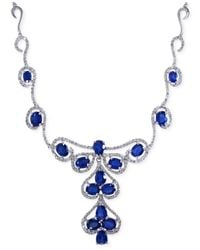 Effy Collection | Effy Sapphire (6-1/3 C.t. T.w.) And Diamond (1-1/4 C.t.tw.) Necklace In 14k White Gold | Lyst
