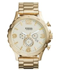 Fossil - Metallic 'nate' Chronograph Bracelet Watch for Men - Lyst