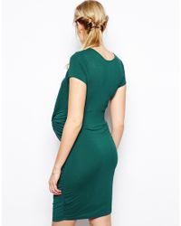 ASOS | Gray Body-conscious Dress With Drape Knot | Lyst