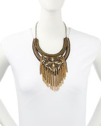 Deepa Gurnani | Metallic Art Deco Bib Necklace Goldblack | Lyst