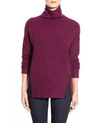 DKNY | Purple Faux Suede Trim Turtleneck | Lyst