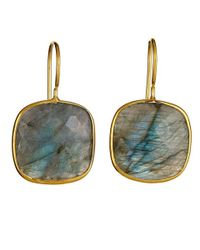 Margaret Elizabeth   Metallic Cushion Cut Drop Earrings, Labradorite   Lyst