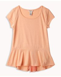 Forever 21 - Orange Georgette Bow Peplum Top - Lyst