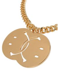 Moschino - Metallic Smiley Face Necklace - Lyst