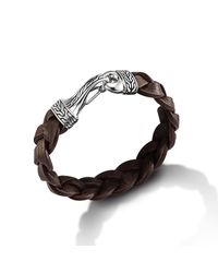 John Hardy | Hook Bracelet On Brown Braided Leather Cord for Men | Lyst
