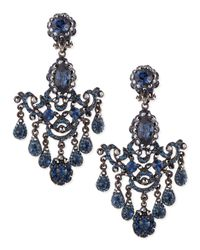 Jose & Maria Barrera - Gunmetal & Blue Crystal Chandelier Clip-On Earrings - Lyst