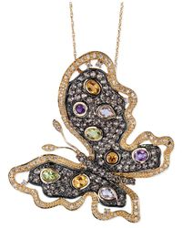 Le Vian - Metallic Multi-Stone (2-9/10 Ct. T.W.) And Diamond (3/8 Ct. T.W.) Butterfly Pendant Necklace In 14K Gold - Lyst