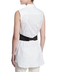 Brunello Cucinelli - White Sleeveless Poplin Tunic Blouse - Lyst