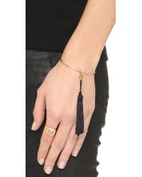 Vanessa Mooney | Metallic The Lovell Tassel Cuff Bracelet - Gold | Lyst