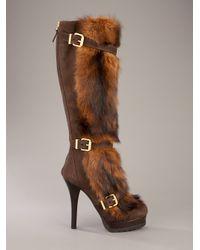 Fendi - Brown Knee-High Boot - Lyst