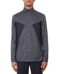 Balenciaga - Gray Contrast-Panel Flannel Shirt for Men - Lyst