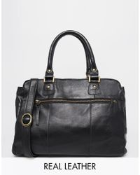 Pieces | Black Leather Carryall Bag | Lyst