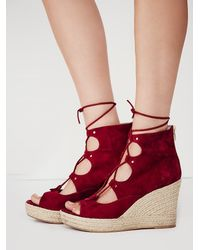 Free People | Purple Prima Lace Up Wedge | Lyst