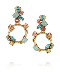 Oscar de la Renta | Green Gold-Tone Crystal Earrings | Lyst