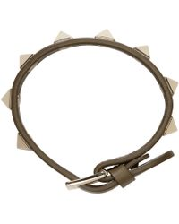 Valentino - Army Green Leather Rockstud Bracelet - Lyst
