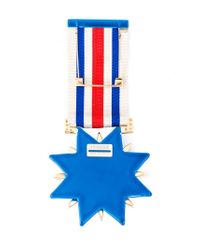 Shourouk - Blue Embellished Medal Brooch - Lyst