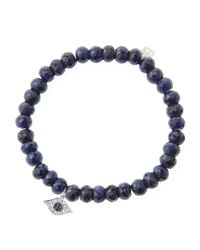 Sydney Evan | Blue 6Mm Faceted Sapphire Beaded Bracelet With 14K White Gold/Diamond Small Evil Eye Charm (Made To Order) | Lyst