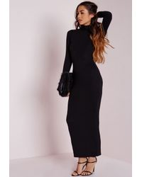 Missguided - Roll Neck Long Sleeve Bodycon Maxi Black - Lyst