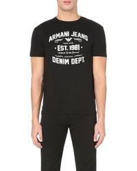 Armani Jeans | Black Foiled Text-print Cotton-jersey T-shirt for Men | Lyst