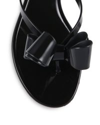 Valentino | Black Couture Bow Jelly Flip Flops | Lyst