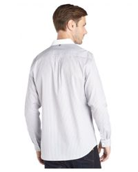 Elie Tahari - Gray Grey Cotton Compact Check 'steve' Shirt for Men - Lyst
