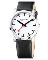 Mondaine - Metallic 'simply Elegant' Leather Strap Watch for Men - Lyst