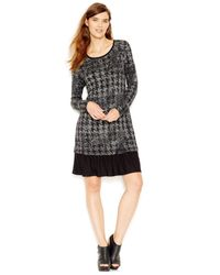 Kensie | Gray Printed Contrast-hem Dress | Lyst