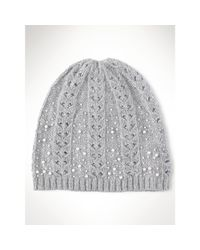 Ralph Lauren - Gray Beaded Skull Cap - Lyst