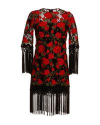 Dolce & Gabbana | Black Photo Print Silk Shift Dress | Lyst