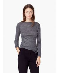 Mango | Gray Ribbed Wool-blend Sweater | Lyst