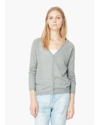 Mango | Gray Cotton-blend Cardigan | Lyst