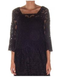 SUNO - Black Lace Embroidery Top - Lyst