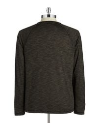 John Varvatos | Green Space-dyed Long Sleeve Pullover for Men | Lyst