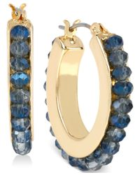 Kenneth Cole - Blue Woven Faceted Bead Hoop Earrings - Lyst