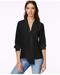Sanctuary | Black Sacntuary Long-sleeve Tie-neck Blouse | Lyst