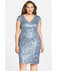 Tadashi Shoji - Blue Sequin Lace Double V-Neck Cocktail Sheath Dress - Lyst